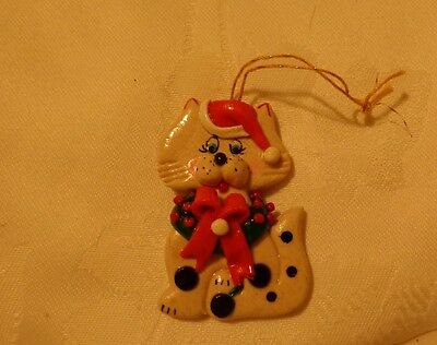 Tan Spotted Cat with Wreath Christmas Holiday Ornament