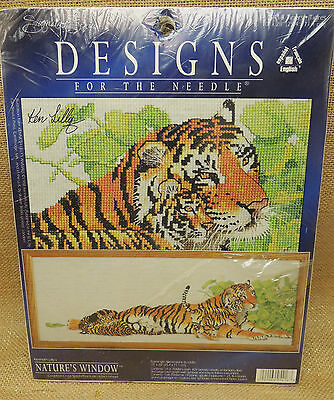 """Kenneth Lilly's Natures Window Counted Cross Stitch  5416 TIgers  10 in x 28"""""""