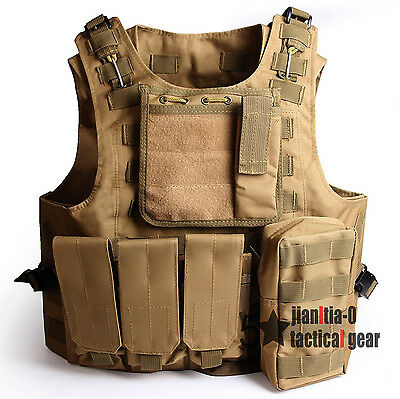 Khaki Adjustable Tactical Molle Carrier Combat Vest Airsoft Camouflage Police