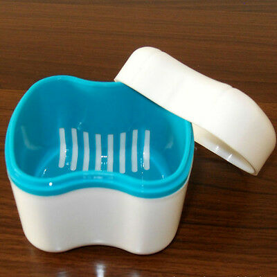 Denture BATH Case Container Box With Rinsing Basket 88 X 78 X 80mm