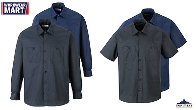 Work Shirt Long Short Sleeve Button Industrial Uniform, Portwest S124 S125