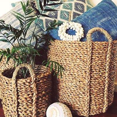 Seagrass Baskets Woven Natural with Handles Chunky