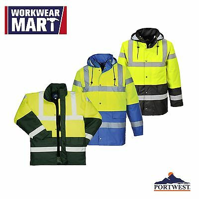 Hi-Vis Rain Traffic Jacket, High Visibility Work Safety ANSI 3:2, Portwest US466
