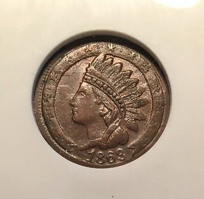 1863 Patriotic Civil War Token  95/368a  ANACS EF-40  Indian / NOT ONE CENT