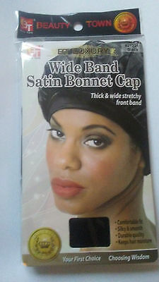 Luxury Wide Band Satin Black Satin Bonnet Cap