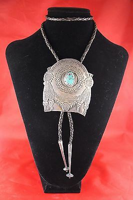 Antique  Native American Navajo A  Sterling Silver Turquoise Bolo Monroe Ashley