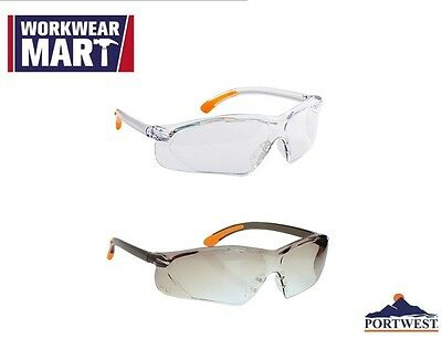 Safety Glasses Eye Protection Clear Smoke ANSI Z87, Portwest PW15