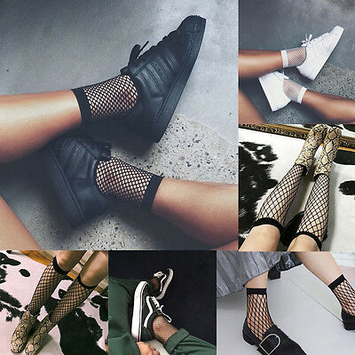 Women Girls Fishnet Ankle High Socks Lady Mesh Lace Ruffle Fish Net Short Socks