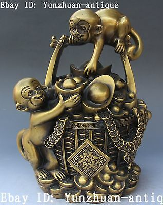 Chinese Pure Bronze Wealth Blessing Yuanbao Double Monkey Money Barrel Statue