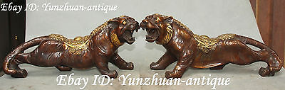 """13"""" Rare Chinese Bronze Gilt Feng Shui Guardian Tiger Tigers Animal Pair Statue"""