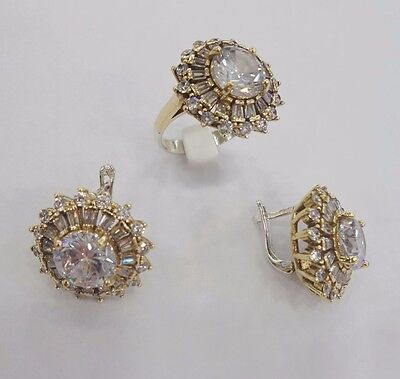925 Sterling Silver Handmade Jewelry White Topaz Earring & Ring Sets New Design