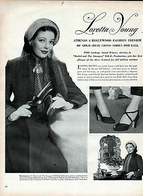 "1948 Loretta Young movie ad ""Rachel and the Stranger"" Red Cross Shoes ad -[-527"