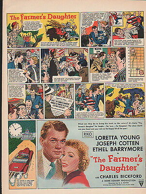 """1947 """" The Farmers Daughter"""" movie ad - Loretta Young gets her Oscar -32"""