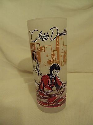 "Vintage~1950s~Arizona Frosted Tumbler/Drinking Glass~ ""Cliff Dweller""~RARE"