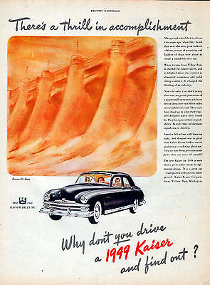1949 Kaiser De Luxe car ad,auto ad-- Bonneville Dam in Background-[-209
