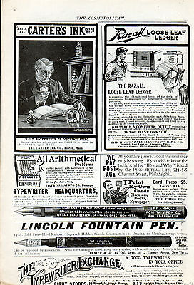 1900 Lincoln Fountain pen ad & Franklin Fountain Pen ad & Carters Ink ad -0-59