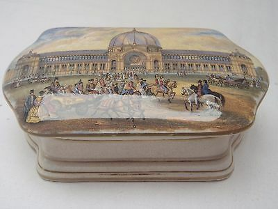 Rare Unrecorded Alexandra Palace Pot Lid With Gold Bands + Base Prattware