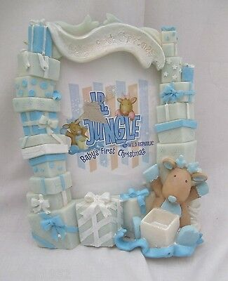Polystone Photo Frame Boy Boys Baby's First Christmas 4 x 6 Photo NEW in Box