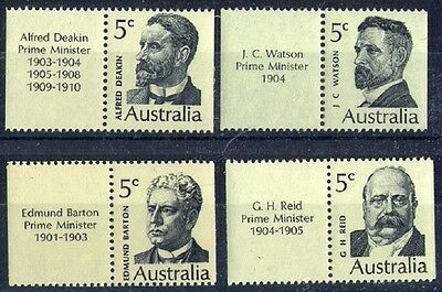 1969 AUSTRALIAN PRIME MINISTERS BOOKLET STAMPS SET x 4 x 5c + TABS MUH