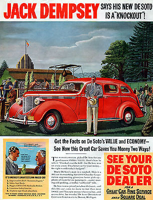 "1938 Desoto car ad-- Endorsed by JACK DEMPSEY --"" It's a Knockout ""-0-835"