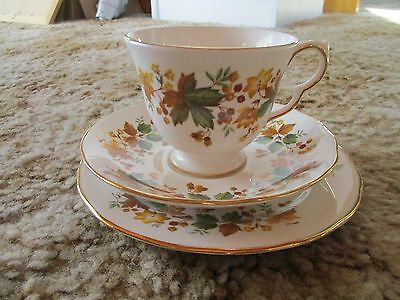 VINTAGE QUEEN ANNE ENGLAND BONE CHINA CUP SAUCER PLATE TRIO - pattern 8606