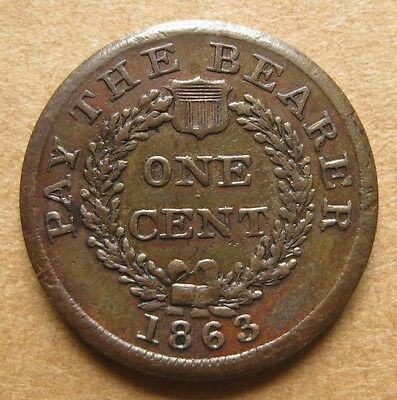 1863 Patriotic Civil War Token  83/264a   Indian / PAY THE BEARER ONE CENT