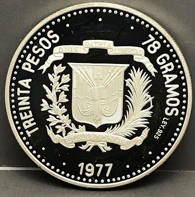 1977 Dominican Republic 30 Peso Silver Coin