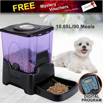 10.65L Automatic Pet Feeder Dog Cat Food Bowl Auto Programmable Dispenser LCD