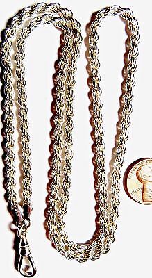 "VINTAGE WOMENS POCKET WATCH FOB ROPE NECKLACE CHAIN STERLING SILVER 24"" & 24.1g"