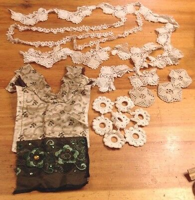 Antique Vtg Lace Trim Pieces Salvage Sewing Material Costumes