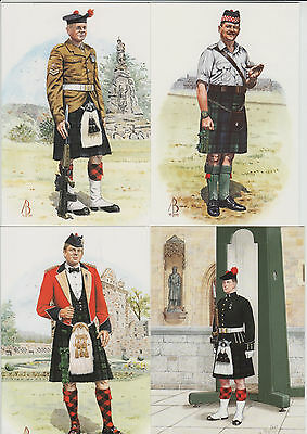k2260)          4  x   POSTCARDS OF  MILITARY UNIFORMS OVER THE AGES