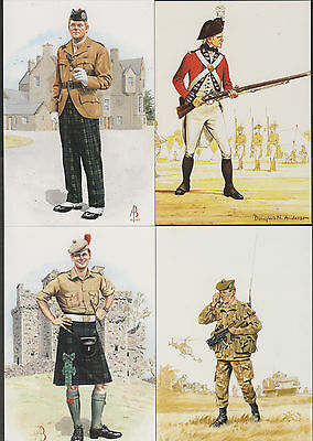 k2095)          4  x   POSTCARDS OF  MILITARY UNIFORMS OVER THE AGES
