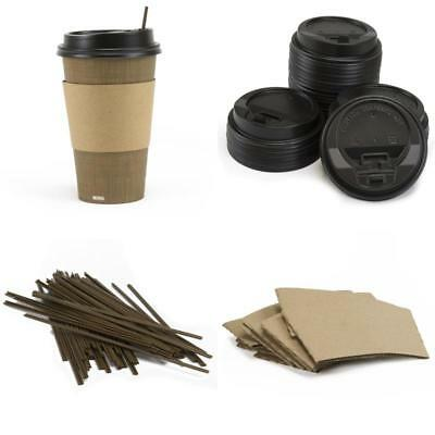 Paper Coffee Hot Cups With Lids Sleeves Stirrer 12oz Pack of 50 Disposable Cup