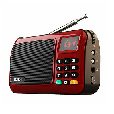 Portable Rechargeable Mini Digital FM Radio Speaker Music Player TF Card USB LED