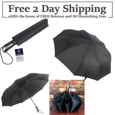 2DAY SHIPPING Travel Umbrella,Uopasd Compact Windproof Folding 10 Ribs Auto Open