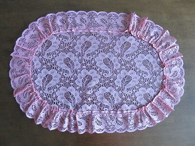 """Vintage Lace Doily - Dusty Rose Pink - 19"""" By 13"""""""