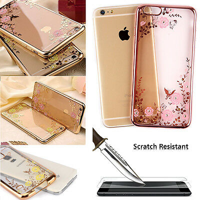 Diamond Bling TPU Silicone Soft Case Cover+Tempered Glass for Samsung A3 A5 2017