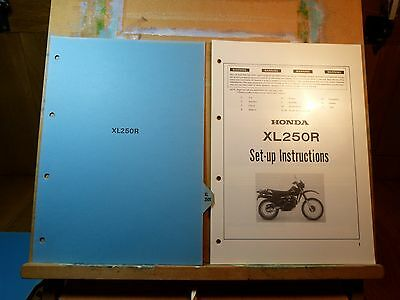 Honda XL 250 XL 250 S & XL 250R Set up, Service & Repair Manual