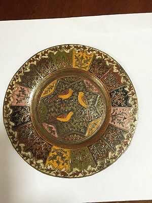 Brass and enamel card tray