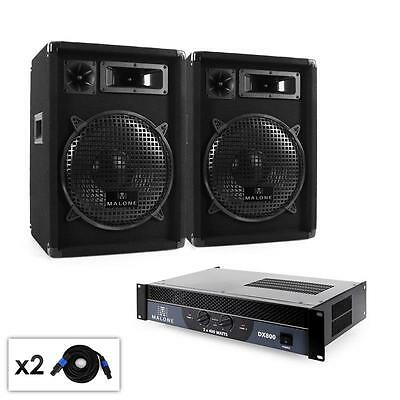 Malone Dj Club Karaoke Party Pa System With Amplifier Speakers & Pa Cable Set
