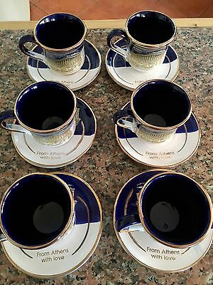 Six Hand Made Greek Cups And Saucers