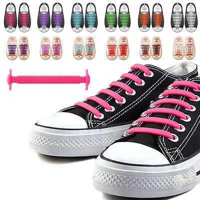 Silicone Easy No Tie Elastic Shoe Lace Trainer Adult Kids Shoes Colour Shoelaces