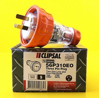 Clipsal 56P310EO / 56P310  3 flat Pin Extension Lead Plug 10A 250V IP66 (5 Pack)