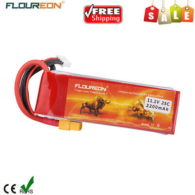 FLOUREON 3S1P 11.1V 2200mAh 25C LiPo Battery XT60 for RC Car Airplane Helicopter