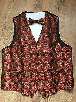 Mens Waistcoat And Dicky Bow Set New Size Large