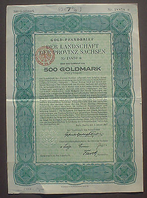 German Government Province of Saxony 500 Gold Mark 1927 uncancelled + coupons