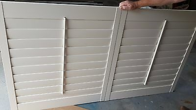 New Timber Plantation Shutters - Colour: Pearl - 2 Panels