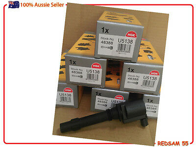 Set of 6 NGK Brand BA BF FORD FALCON & Territory 6cyl Premium IGNITION COILS