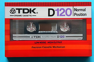 1x TDK D 120 Long Play Cassette Tape 1982 + NEW & SEALED + Collector's Condition