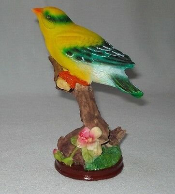 "Pretty Gold Finch Resin Bird Figurine - Finch Bird On A Tree Branch - 6.5"" high"